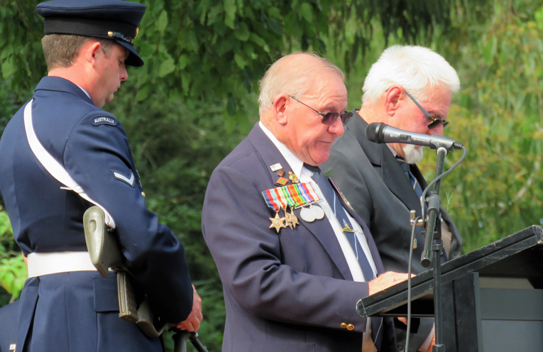 Veteran Peter Millen proudly wears his father's medals on ANZAC Day.