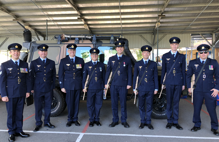 The Catafalque Party from RAAF Base Williamtown with their G-Wagon Mercedes Communications Vehicle.