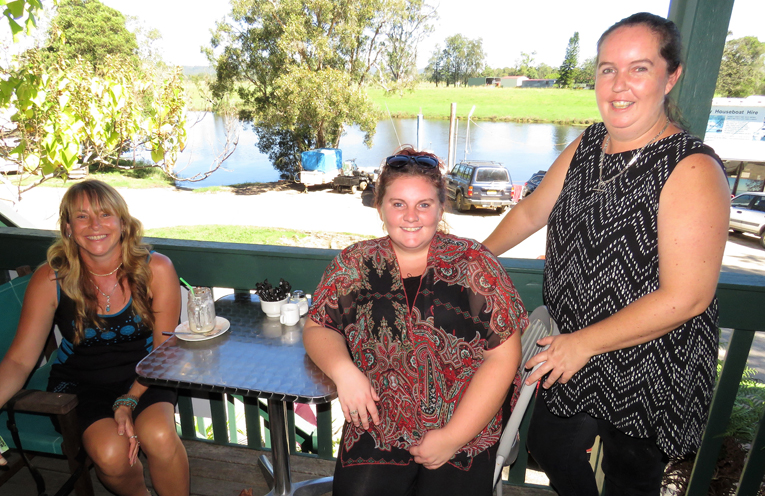 Customer Christine McAlpine with Maddie Harvey and Stacey Brown on the final day of trading at the Riverside Cafe.