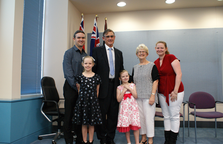 Geoff and Libby Dingle with their son Chris, his wife Bianca, and their children Jessica and Katie.