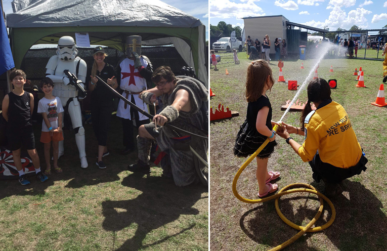 Vanguard and the Rover Pirates put on demonstrations during the day. (left) Salt Ash Rural Fire Brigade with young ones trying out the water display. (right)
