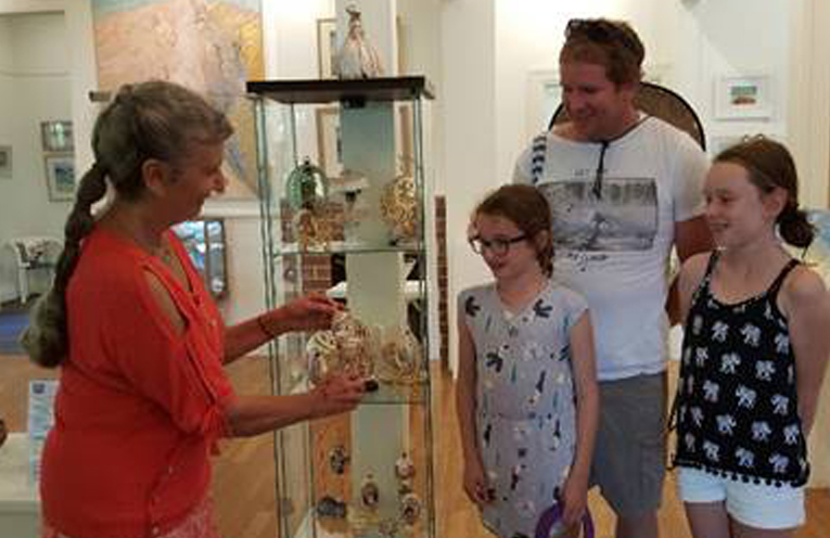 FABERGE INSPIRED EXHIBITION: Artist Sandy Needham with visitors Sandy, Hannah and Dad.