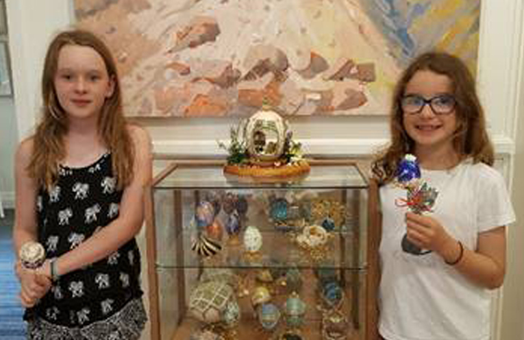 GALLERIES IN THE GARDENS: Sandy and Hannah visit the Faberge Exhibition.