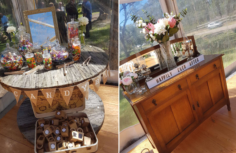 The candy buffet. (left) The wedding was full of elegant and special touches. (right)