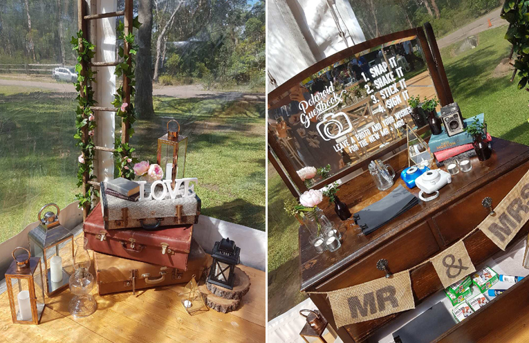 Vintage pieces were lovingly collected by the couple and their family for the wedding. (left) A polaroid photo station, encouraging their guests to partake. (right)