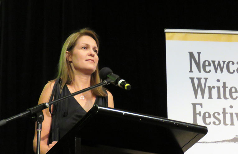 Joanna Atherfold Finn launches her book at the Newcastle Writers Festival.