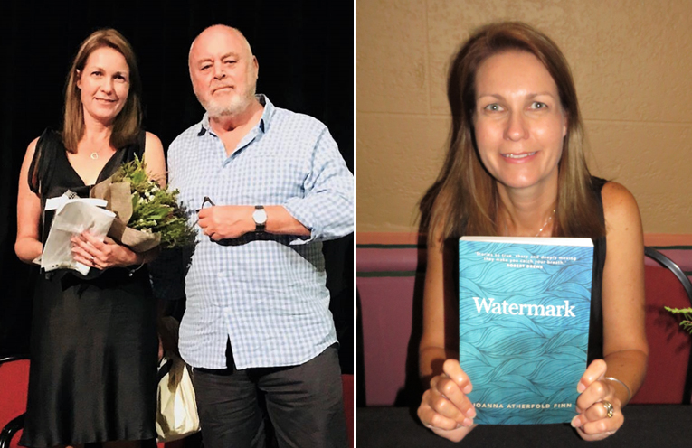 Authors Joanna Atherfold Finn and Robert Drewe.   (left) Author Joanna Atherfold Finn with her newly published book, Watermark.  (right)