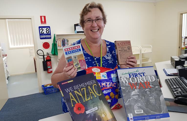 ANZAC ACTIVITY: Librarian Carol Johnson.