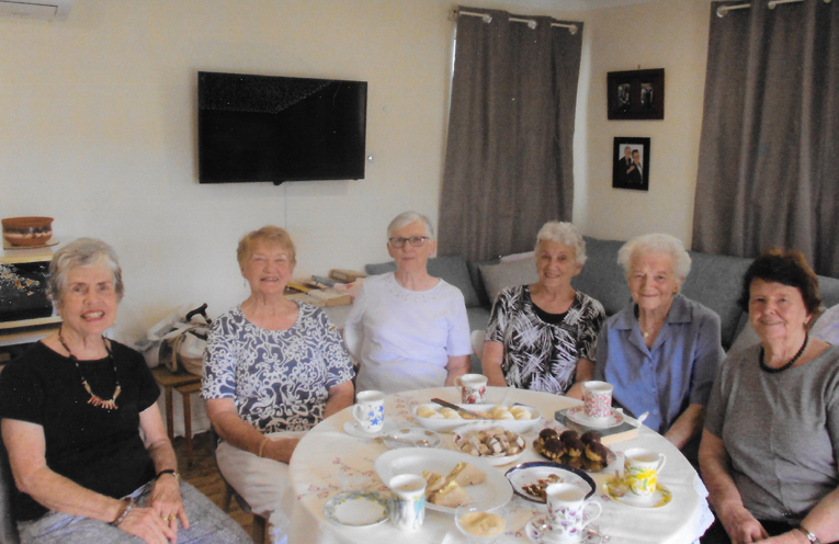 Probus Club members enjoying themselves at the afternoon tea Lynn Moffitt, Adele Hassett, Dulcie in the centre, Beverley Atkins, Julia Redlich and Ruth Houghton.