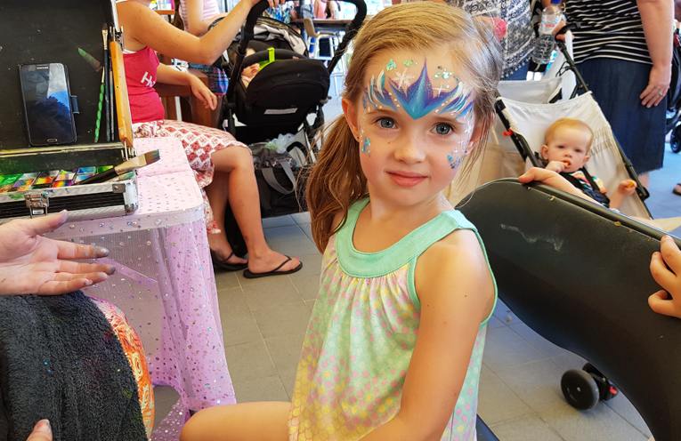 FACE PAINTING: 4 year old Zoe McCullaugh.
