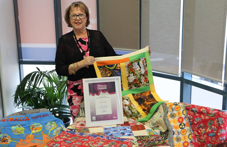 INVICTUS GAMES: Mrs. Pauline James with donated  Laundry Bags.