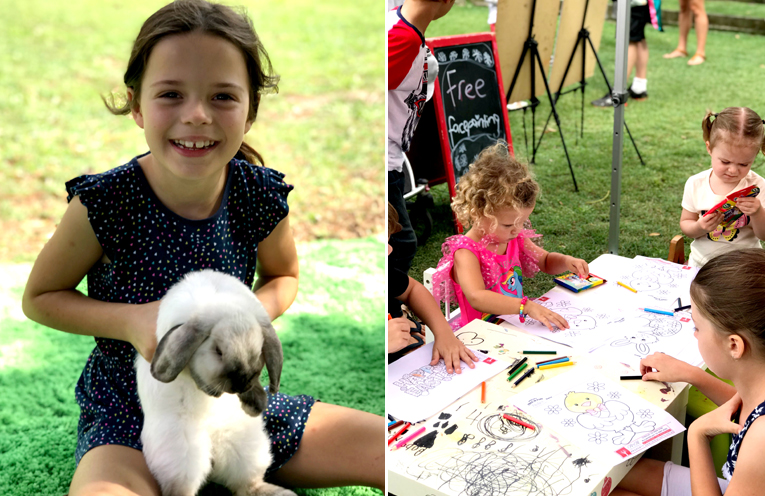 A mini animal petting area with some cuddly, furry friends was a big hit.  (left) Craft tables were popular with the young ones. (right)