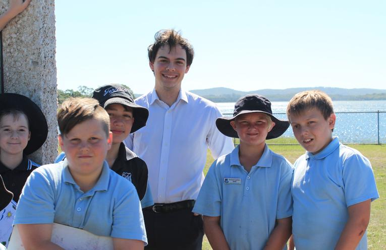 Councillor Giacomo Arnott with students Jonathan Britton-Goff, Jaxon Hatch, Silas Aguis, Oska Greentree (Captain) and Dale Johnston.