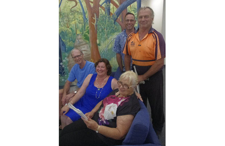 John de Ridder of COPSY, News Of The Area's Marian Sampson representing the Real Futures Foundation, Elizabeth Schiemer of CDAT, Paul Pearton of the DARA Van, and Dave Sams representing the Port Stephens Suicide Prevention Network and Tomaree Youth Community Action Group (TYCA).