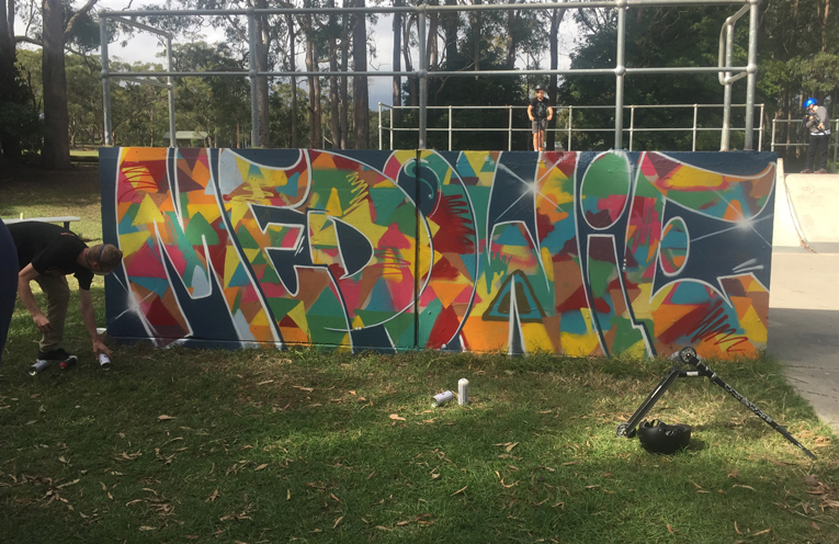 One of the finishest pieces on the skate ramps, completed by the young people in attendance.