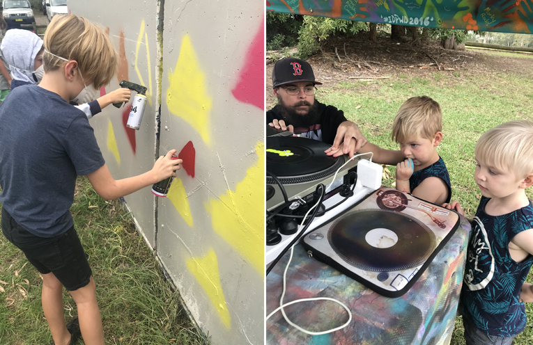 Riley Coglan, aged 9, spraying the skate ramps. (left) Harvie and Kobie Staader age 2, learning to scratch with the DJ. (right)