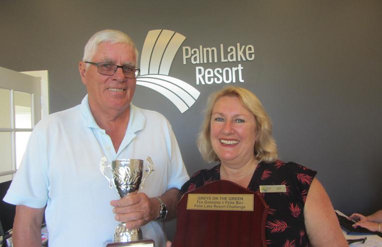 GREY NOMADS CUP: David Gilbert and Palm Lake Resorts Jen Nichols.
