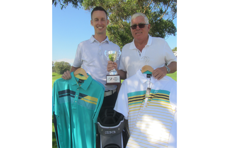 GREY NOMADS CUP: Hawks Nest Golf Pro, Andrew McCormack and David Gilbert.