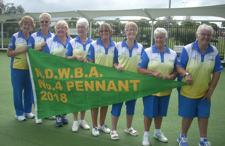 Soldiers Point Women's Bowling Clubs Pennant Winners Robyn Hughes, Lyn Mather, Alida Roditis, Mary Judge, Margaret Lanyon, Trish Horrocks, May Sessions, Irene Fuller (Donna Longworth was also part of the winning team, not pictured).