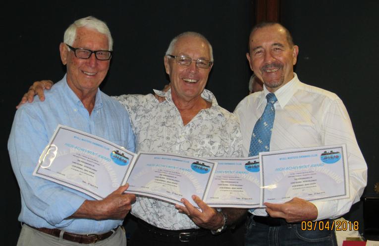 HIGH ACHIEVEMENT AWARD: Peter Kellaway, Leon Bobako and Brad Jensen.