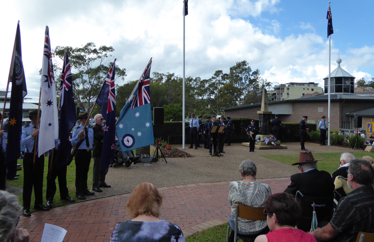 Cadets proudly holding the flags at the at the Nelson Bay ANZAC Day service.