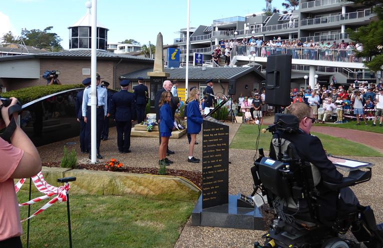 Students from Tomaree Public School delivering the Ode at the Nelson Bay ANZAC Day Service.