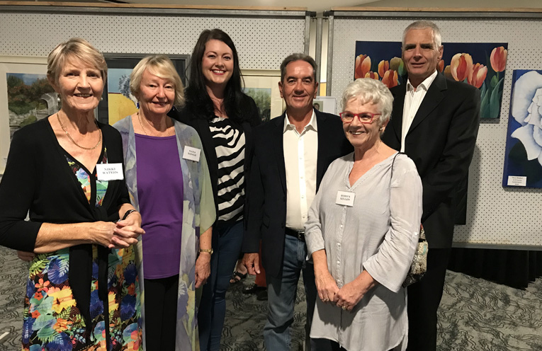 On the opening night of the exhibition at the Nelson Bay Golf Club, Nikki Waters, Nada Yonge, Councillor Jamie Abbott, Peter Power, Robyn Killen and Councillor John Nell.