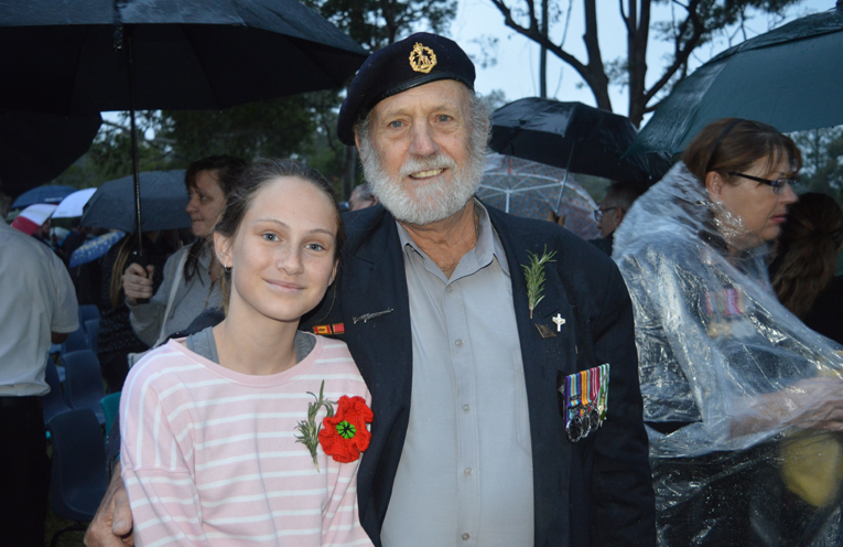 Vietnam Veterans represented at the Dawn Service by Battle of Long Tan veteran Jim Batt with his granddaughter.