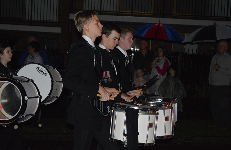 The Irrawang High School Drum Corps led the march this year.