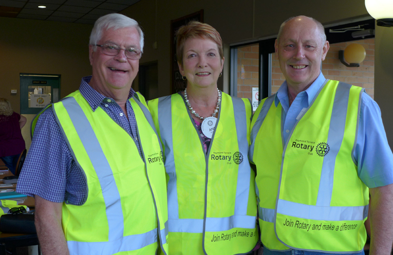 Noel Frith, Ann Knight and Steve Merritt, all members of the Rotary Club of Raymond Terrace.
