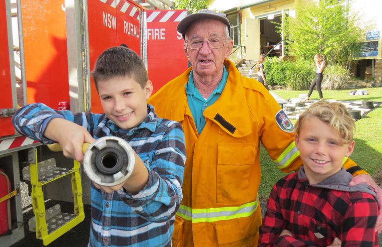 Rural Fire Brigade: Sebastian Sumner, volunteer member Laurie Sumner and Alfie Lehelyar.