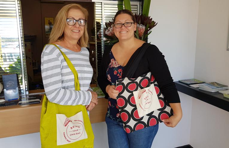 BOOMERANG BAG VOLUNTEERS: Liz O'Connor and Brooke Feltis.
