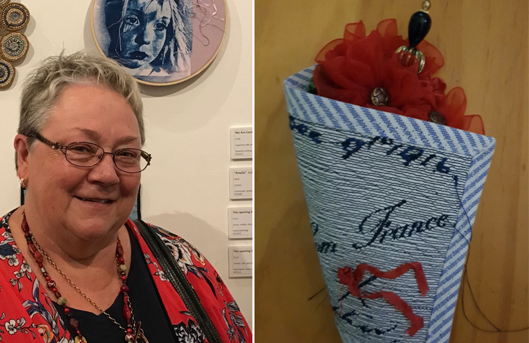 Judith Bee with her award winning piece, a wall art brooch entitled 'Amelia'. (left) 'France, a kiss 1916' - a special piece created from a copy of a postcard sent during World War One.  (right)