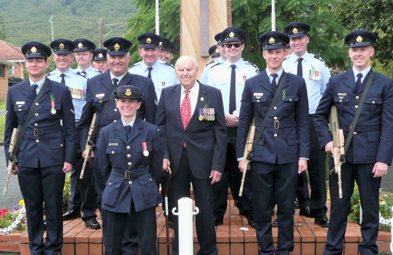 WWII Veteran Jack Ireland with the RAAF contingent on ANZAC Day.