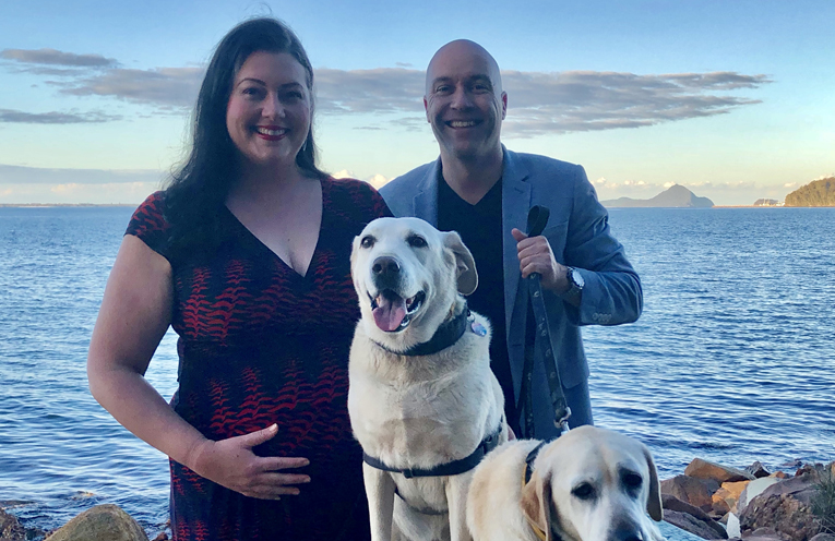 Councillor Abbott, and her partner Matthew Bailey with their two 11 year old labradors, Charlize and Mika.