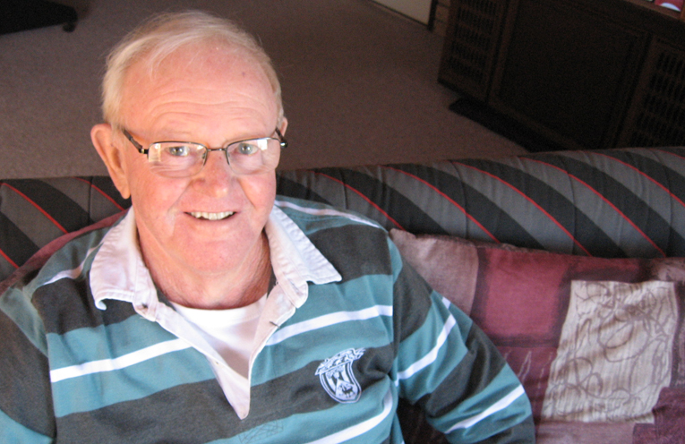 On the mend – Barry at his Tanilba home.