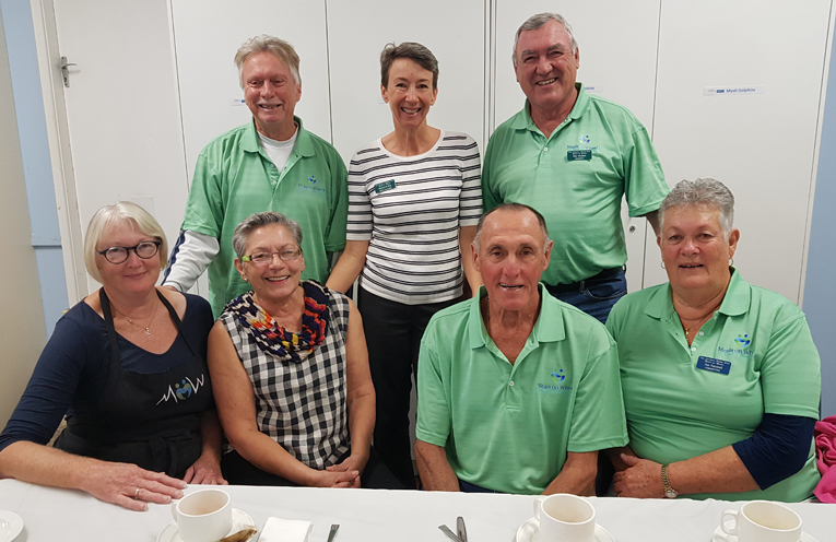 MEALS ON WHEELS  VOLUNTEERS: Back row: Alan Tarlinton, Meredyth Rae; Dan Holmes Front row: Christine Wisemantel; Emilie Tseronis; John Turnbull; Jan Turnbull.