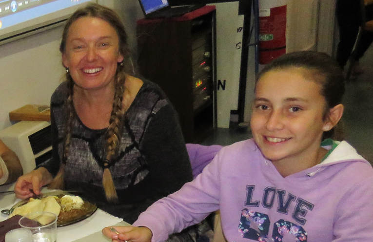 Georgina Cunich and Carol Poniris enjoy the curry.