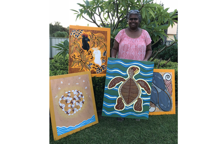 Jocelyn Archer, with her artworks for the competition.