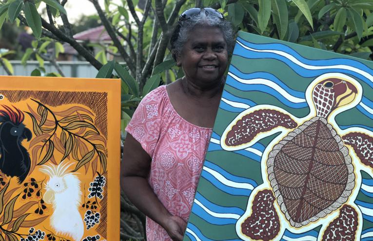 Jocelyn Archer, proud Larrakia woman and talented artist.
