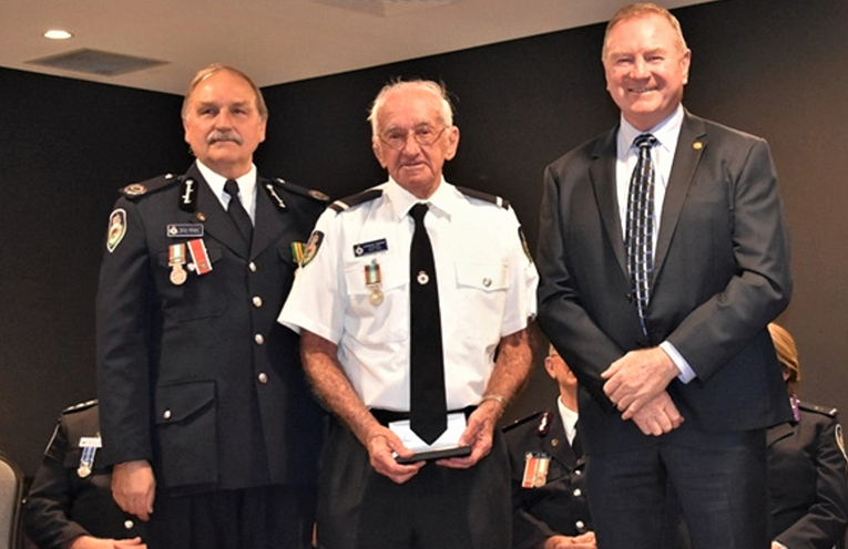 NSW RFS Assistant Commissioner Stuart Midgley, Laurie Sumner and Myall Lakes MP Stephen Bromhead. Photo: Supplied