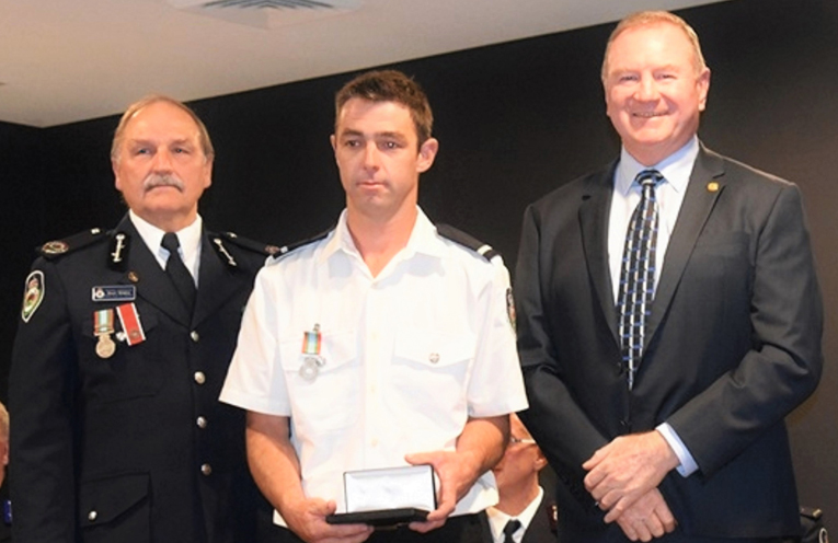 NSW RFS Assistant Commissioner Stuart Midgley, Dave Morgan and Myall Lakes MP Stephen Bromhead. Photo: Supplied