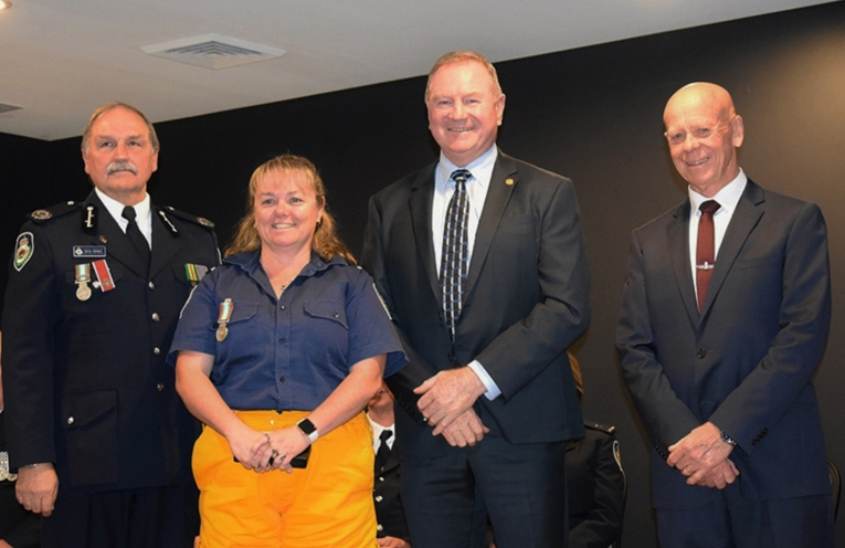 NSW RFS Assistant Commissioner Stuart Midgley, Coolongolook Brigade Deputy Captain Deb Gilbert, Myall Lakes MP Stephen Bromhead and MidCoast Mayor David West. Photo: Supplied