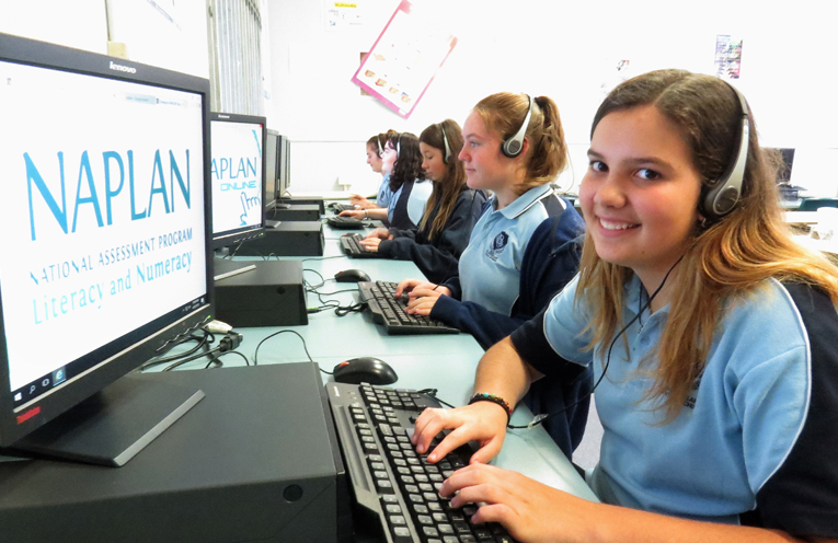 Kalani Minns and fellow Year 9 students sit an online practice test.