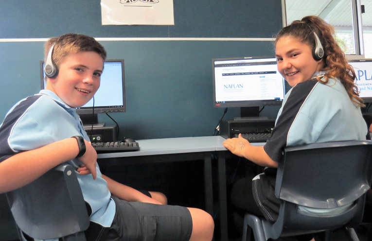 Year 7 students Toby Barry and Georgia Murray are ready to go online.