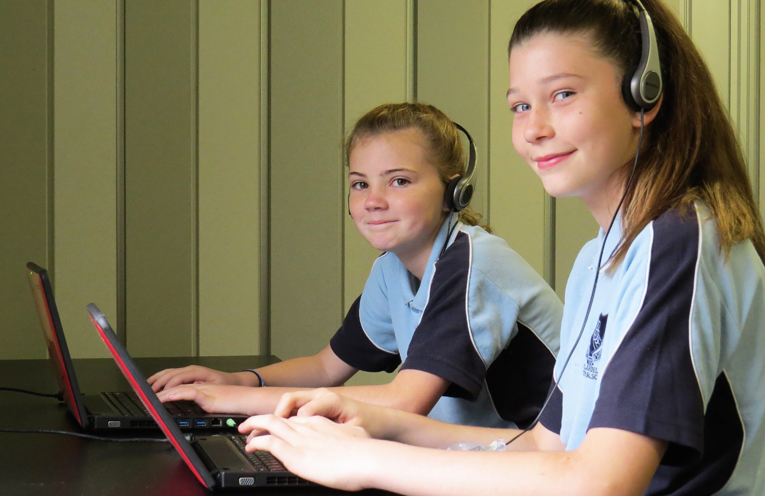 Year 7 students Mia McBride and Keily Boyd.