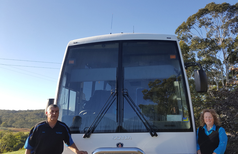 NEW BULAHDELAH BUS: Paul and Renee Spiteri.