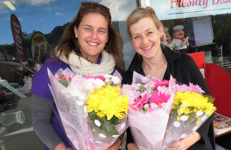 Mother's Day Flowers: Stacey McLoughlin and Lacey Dawes.