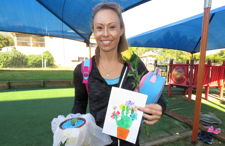 Sonia Smith with her Mother's Day gifts.