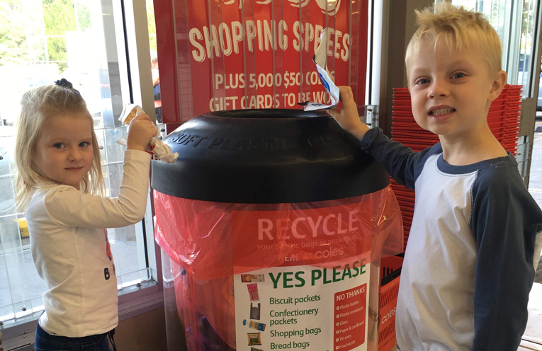 Junior environmentalists: Hudson and Milla Goodwin enjoy getting involved in the family recycling.